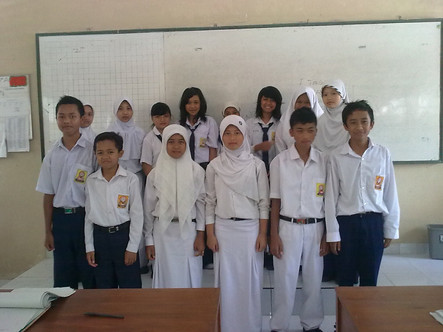 Class 8A Students at SMP2 Cangkringan after the eruption of Mt Merapi