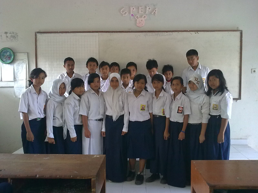 Class 7B Students at SMP2 Cangkringan after the eruption of Mt Merapi