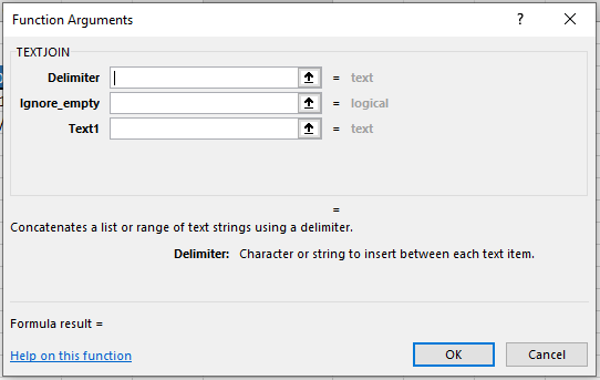 Microsoft Excel TEXTJOIN() Function