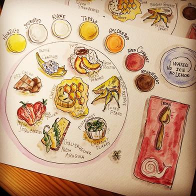 Red Bee Honey tasting plate sketch