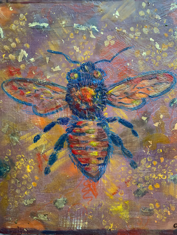 Brown Bee Encaustic