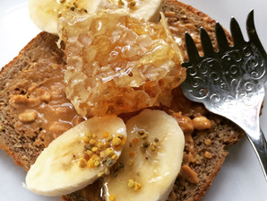Banana Toast with Bee Pollen and Honeycomb