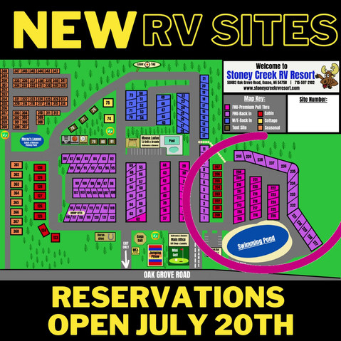 New RV site reservations open on July 20th!