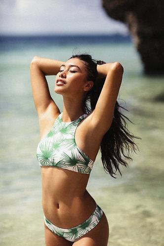 Sumbawa bikini/surf top (Palm) for women (front view)
