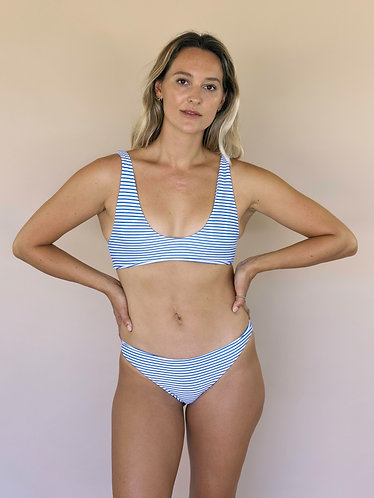 Hawaiian Striped Lilli bikini bottom (Coco Blue) for women (front view)