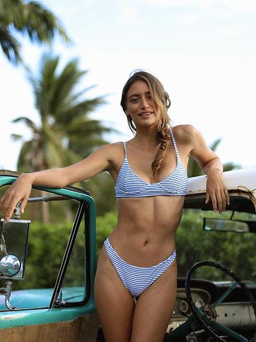 Hawaiian Striped Mala bikini bottom (Coco Blue) for women (front view)