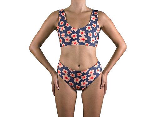 Kava bikini/surf top (Pele Hibiscus) for women (front view)