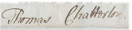 Chatterton's Signature 14th May 1770
