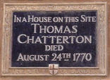 Chatterton Memorial Plaque Holbourn