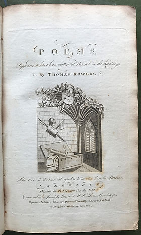 1794 edition of Chatterton's Poems, annotated with MS. Description of the Mayor's first passing over the old bridge