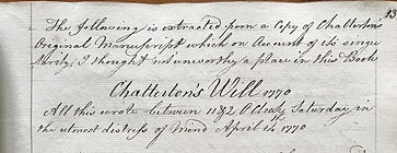 Catcott transcript Chatterton's Will