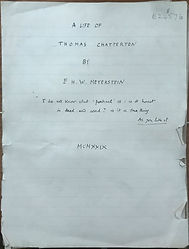 Ms. title page of Meyerstein's A Life of Thomas Chatterton