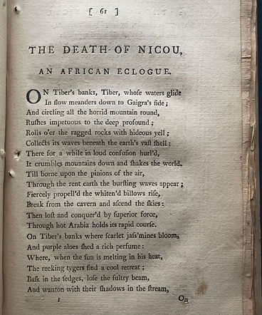 The Death of Nicou an African Eclogue by Thomas Chatterton
