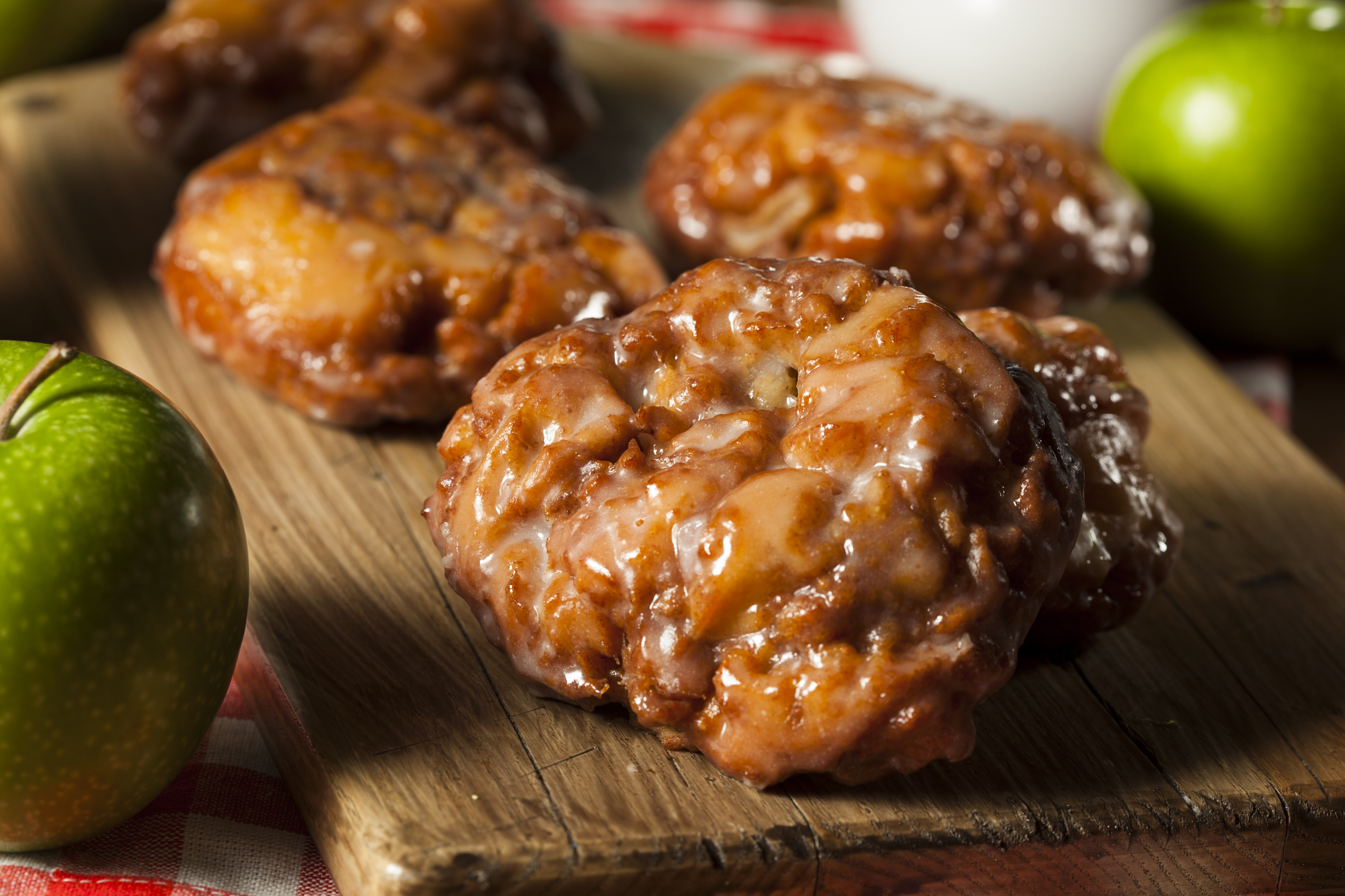 Apple Fritters w/ Creme Anglaise Sauce