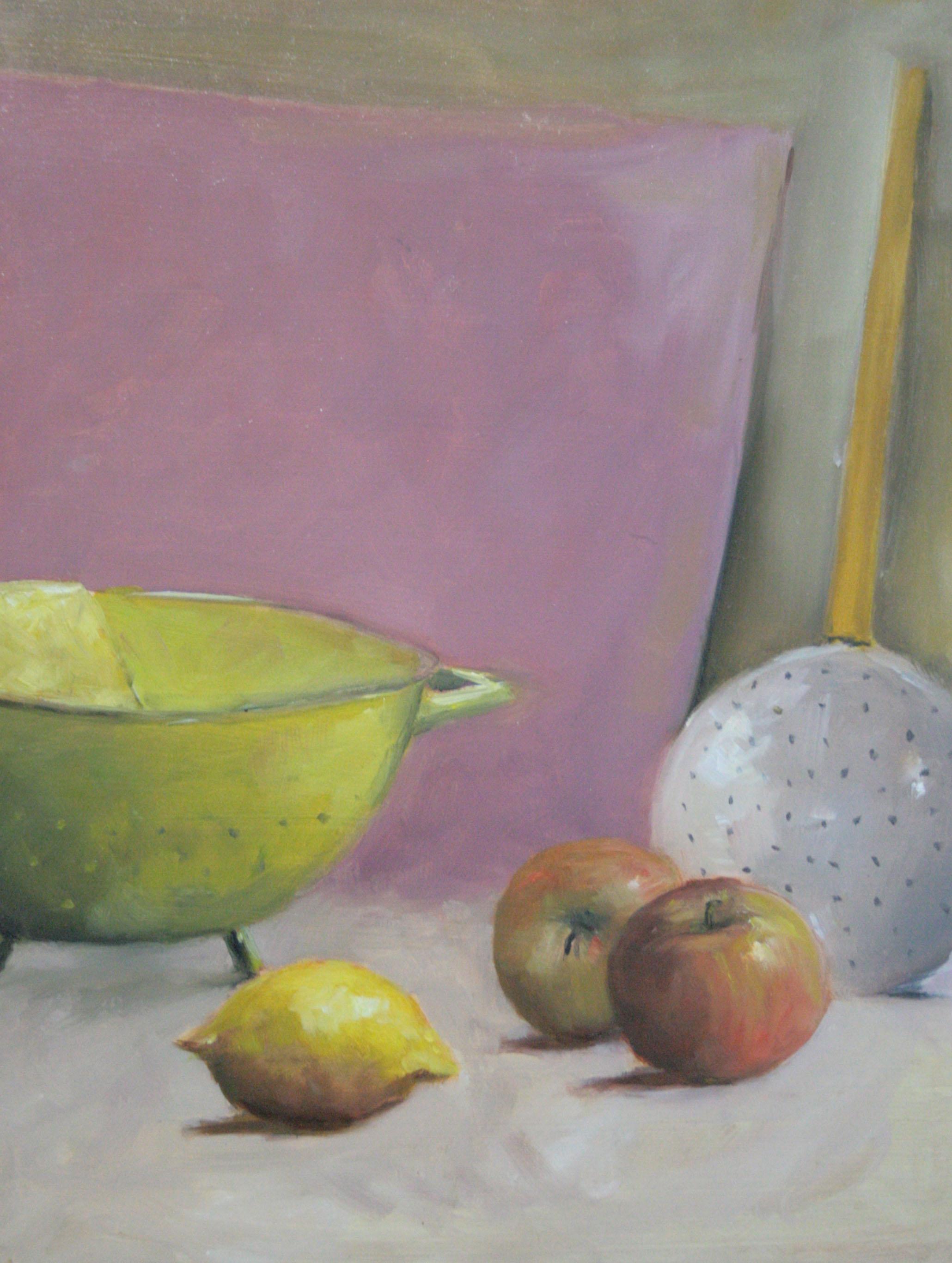 passoire et pomme - peinture sur panneau