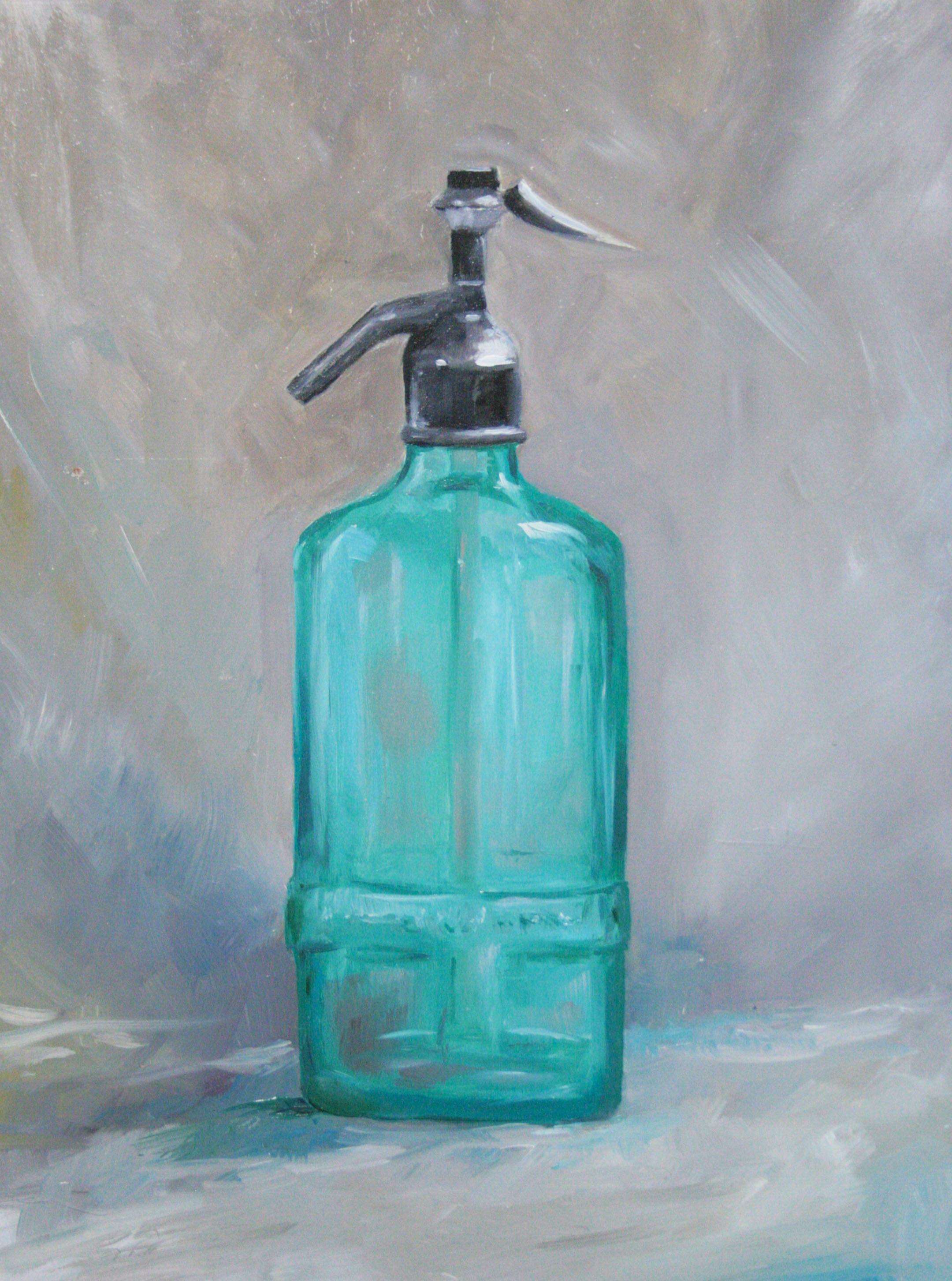 bouteille bleue artiste Mich