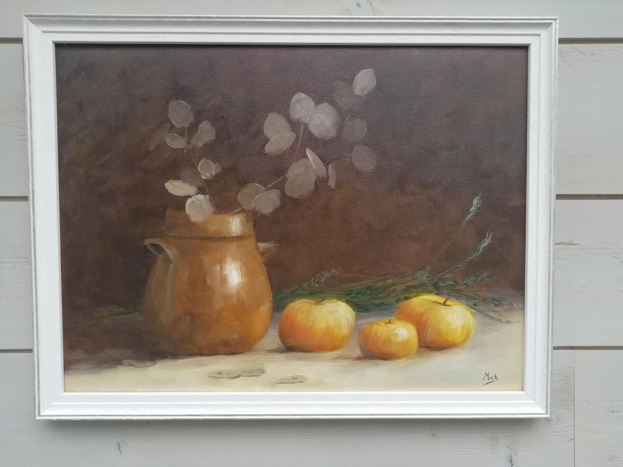 Peinture pommes et vase
