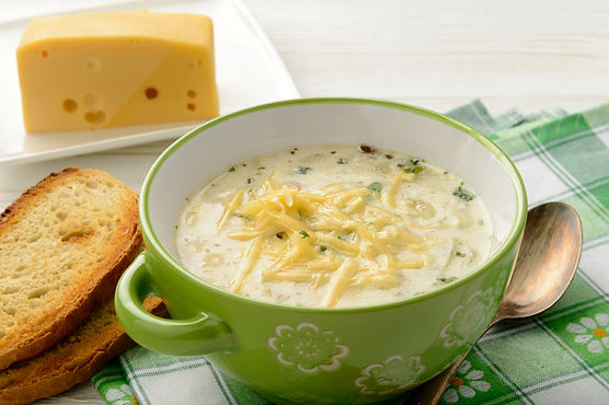 Irish Cheddar Potato Soup with Asparagus