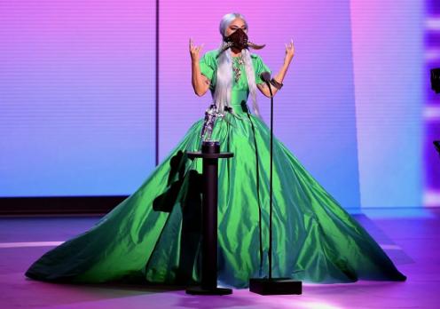 Lady Gaga's green ball gown at 2020 VMAs