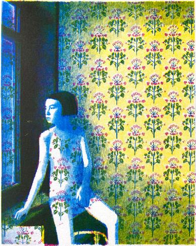 花柄の壁紙の部屋