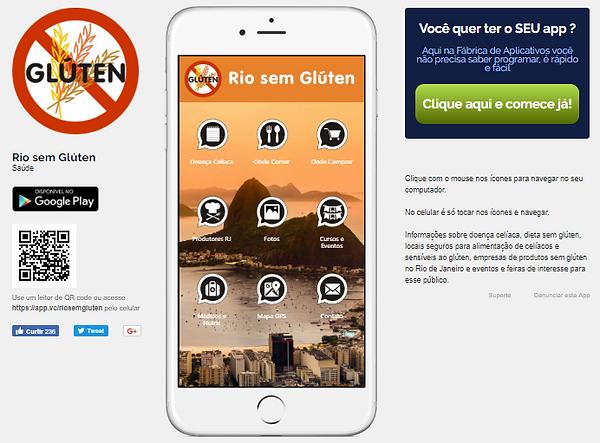 Divulgação do web aplicativo Rio sem Glúten