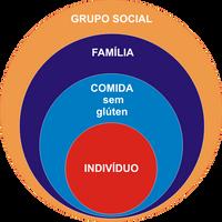 conjunto de círculos  representando as diversas relações do Celíaco