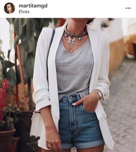 blazer, short, style, moda, denim, casual