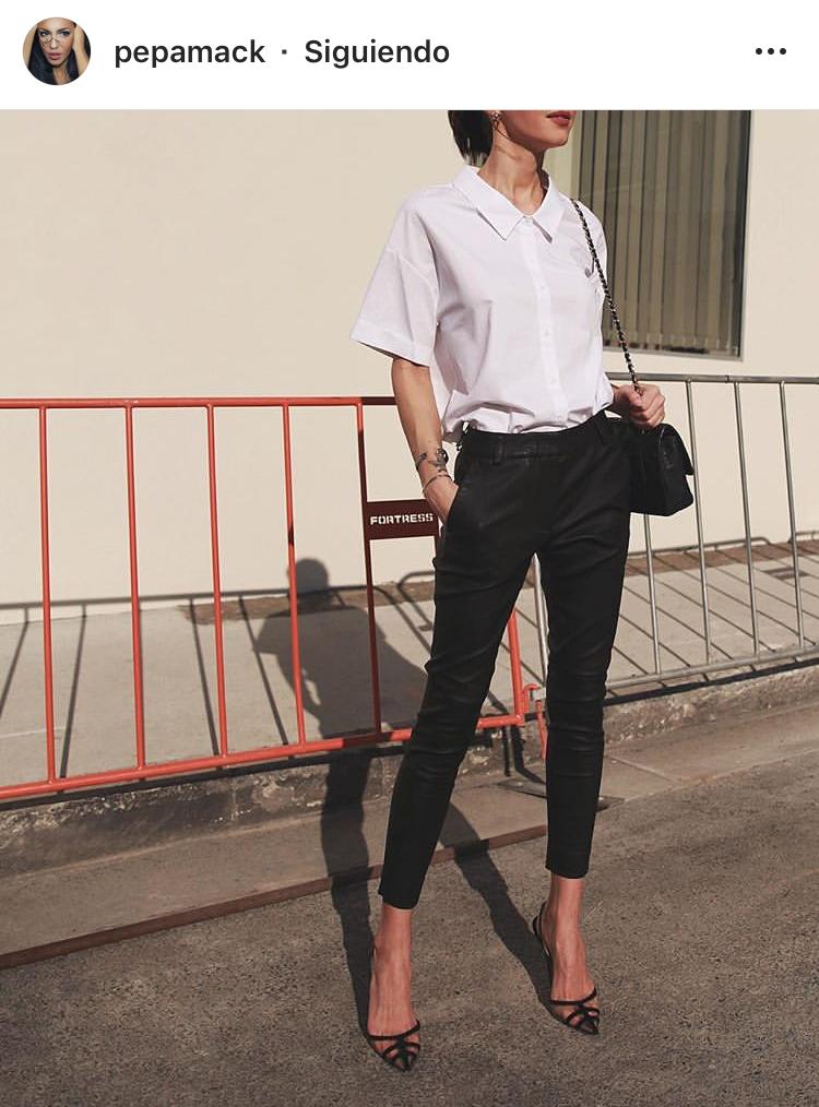 basicos, skinny pants, black shirt, camisa blanca, camisa de vestir