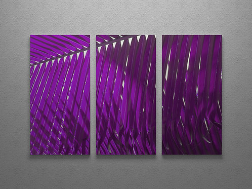 Magenta Palm Fronds Triptych Wall Art