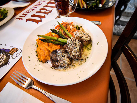 Grilled Beef with Mushroom Sauce and Sweet Potatoes