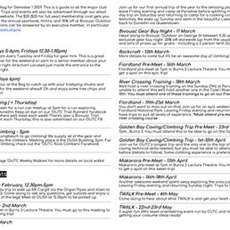 Semester One 2021 Itinerary