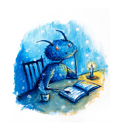 The creature with book