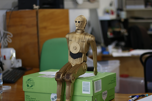 Large Wooden Painted C3PO