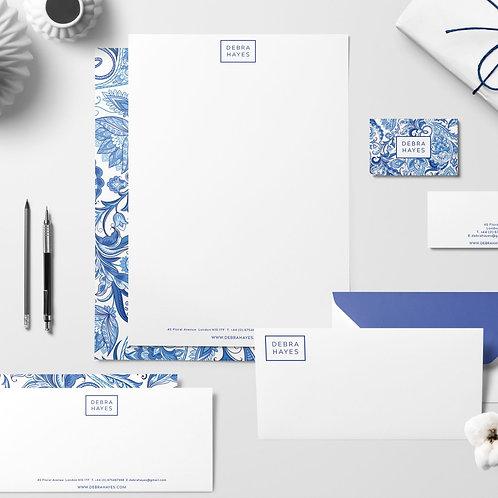 Printed Business Stationery Design Pack Blue Portuguese tile inspired Branding