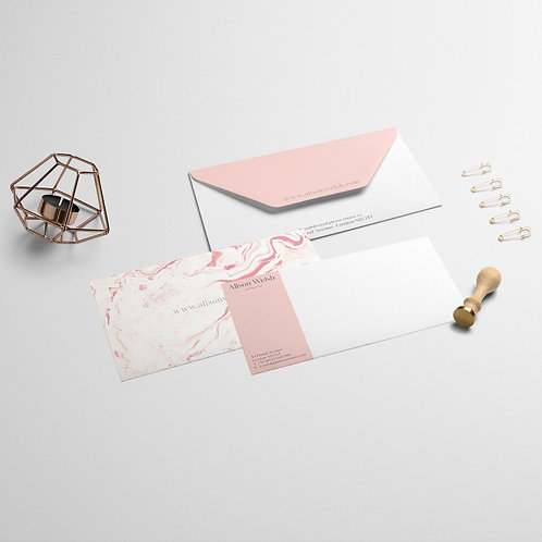 Pink Marble Compliment Slips | High Quality Paper | Custom Design