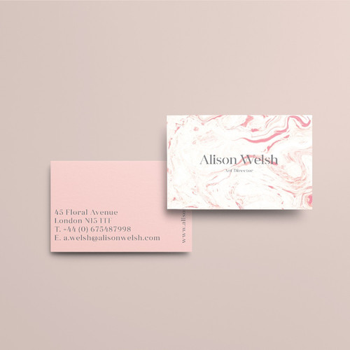 Print tailors business cards pink marble minimalist business cards design reheart Choice Image