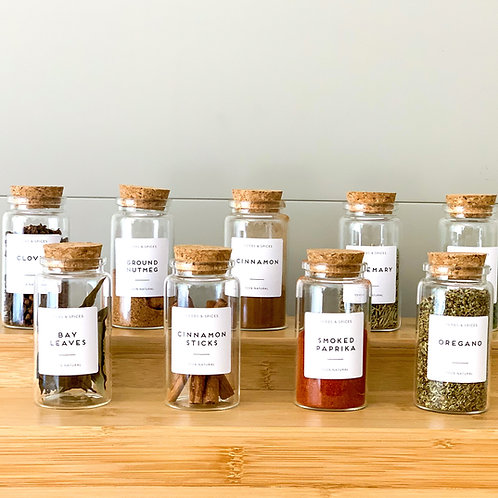 Spice Jars with Cork Lids - Set of 6  with labels