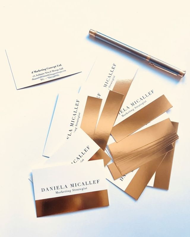 Gold foiled business cards for Daniela M