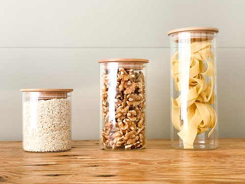 Glass Pantry Jars with Bamboo Lids - 3 sizes