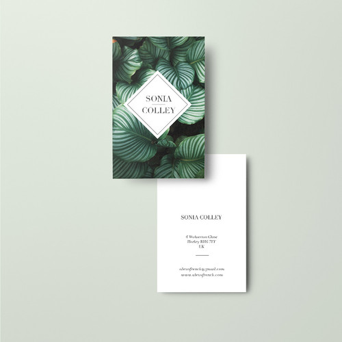 Print tailors business cards tropical leaf business card design reheart Images