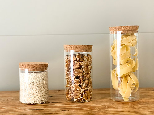 Glass Pantry Jars with Cork Lids - 3 sizes