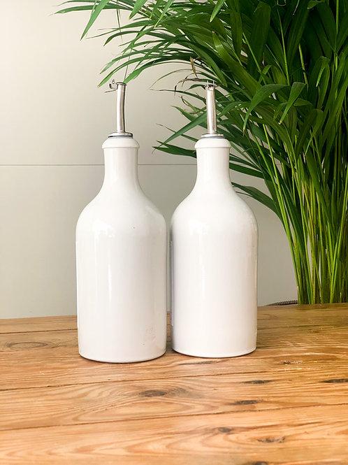 Ceramic White Bottles Olive Oil/Vinegar Pourer Storage Bottle 500ml Reusable