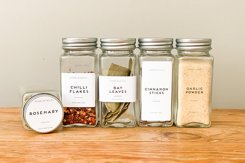 Labelled Square Spice Jars with Shaker Inside Tops and Brushed Silver Lids