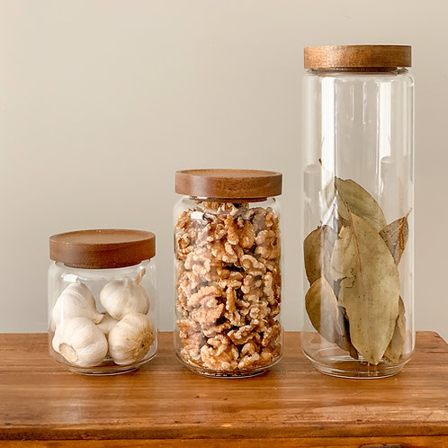 Glass Pantry Jars with Wooden Acacia Lids - 3 sizes