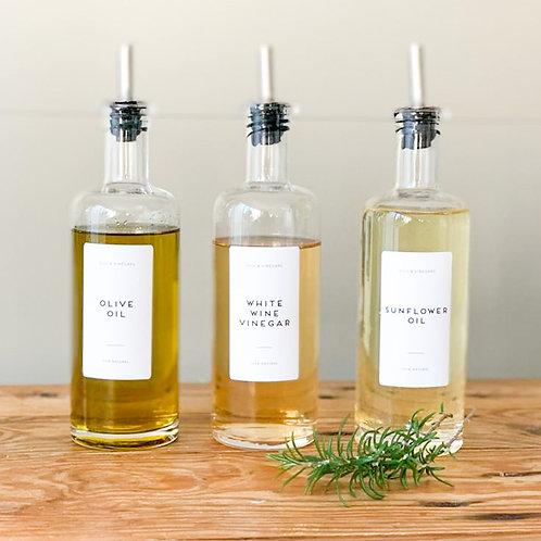 Pantry Labels Basic Oils & Vinegars - Printed Waterproof Matt Vinyl - Custom Lab