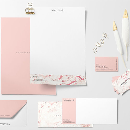 Printed Business Stationery Design Pack Pink Marble Branding Pack