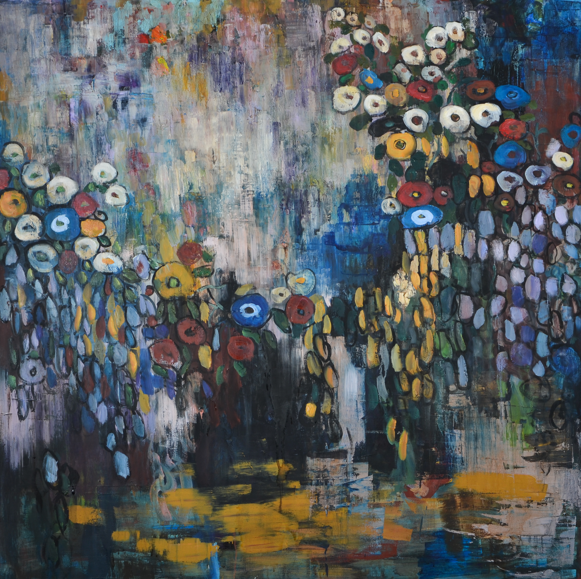 Moody Garden (48x48) oil on canvas 2018.