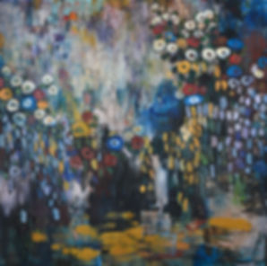 Moody Garden (48x48) oil on canvas 2018.