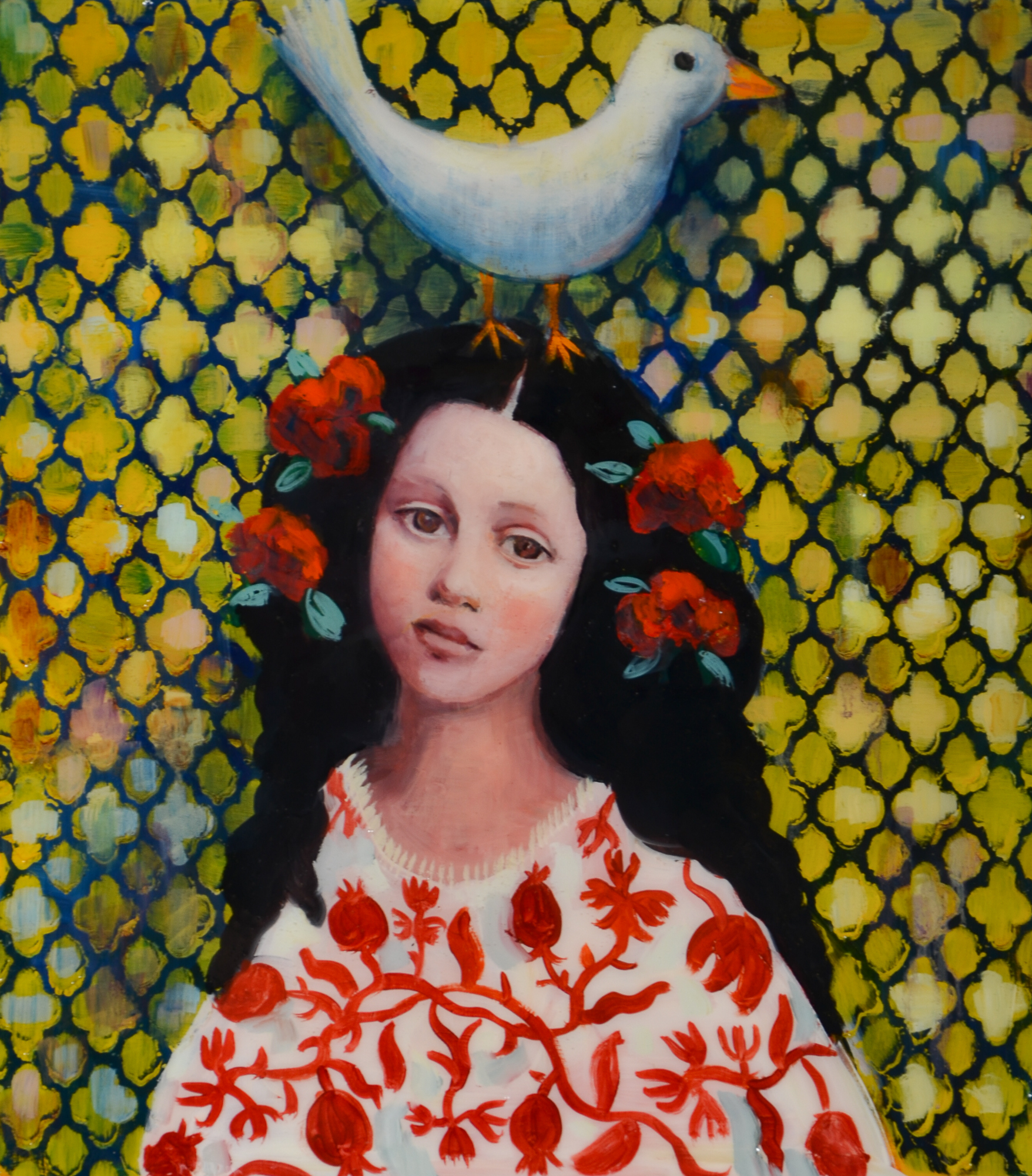 Beauty in Faith (20x18) mixed media on wood panel 2017
