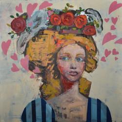 Forgotten Kiss (30x30) mixed media on wood plate 2021